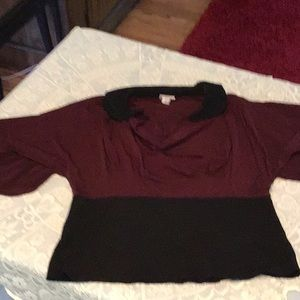 Cowl neck blouse in Maroon and black size L